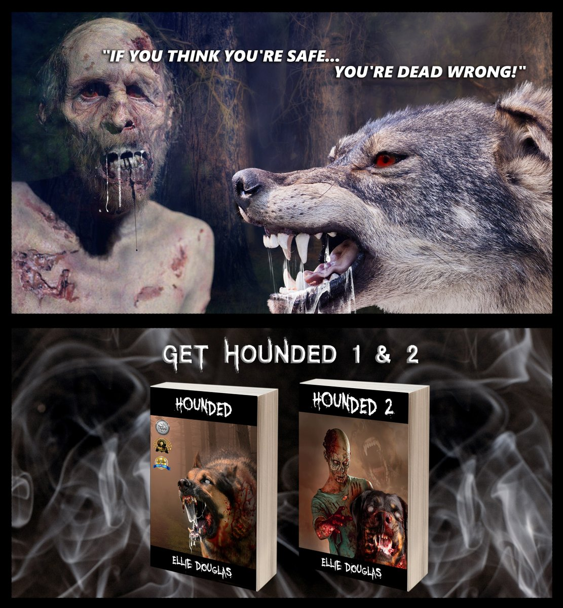 #Hounded and #Hounded2 🧟♀️  Get it here:    and here:   Be afraid...Be very afraid. 📚  #NonprofitHorror #IARTG #findhorror #promotehorror #HorrorStories