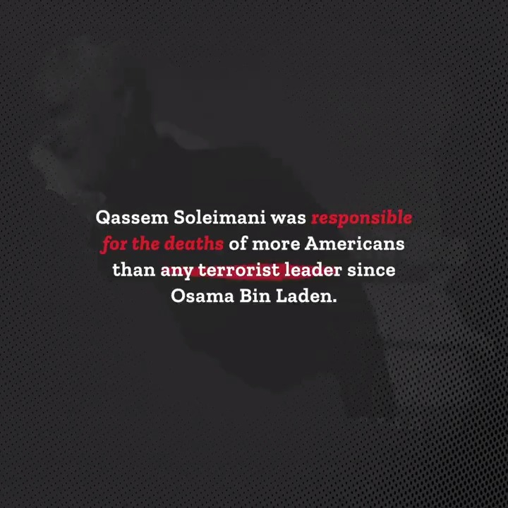 ʀᴇᴍɪɴᴅᴇʀ  In killing Soleimani, @realdonaldtrump eliminated a terrorist mastermind who had been responsible for more American military deaths than *anyone else* alive.  It was a calculated and limited response that undoubtedly made America—and the world—a safer place.