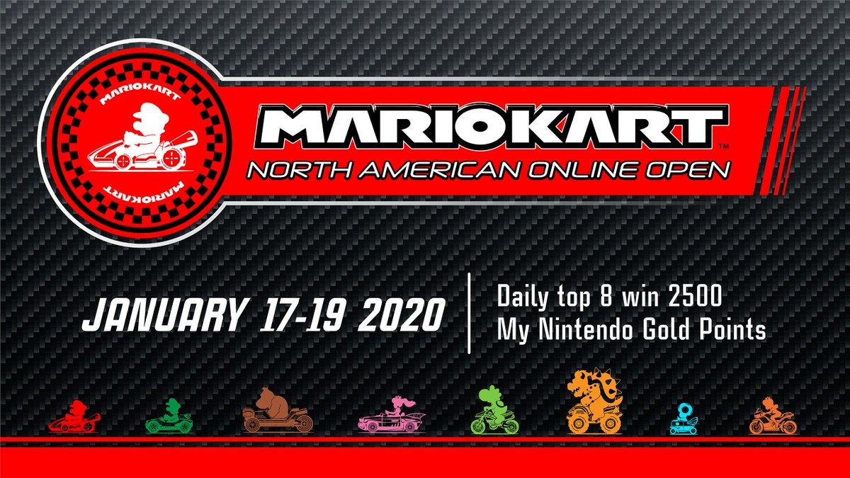 We're just a few days away from the start of the #MarioKart8Deluxe North American Online Open! Have you decided which racer you'll hit the tracks with? Win one of the top 8 spots each day to be eligible for 2500 My Nintendo Gold Points!  Learn more: