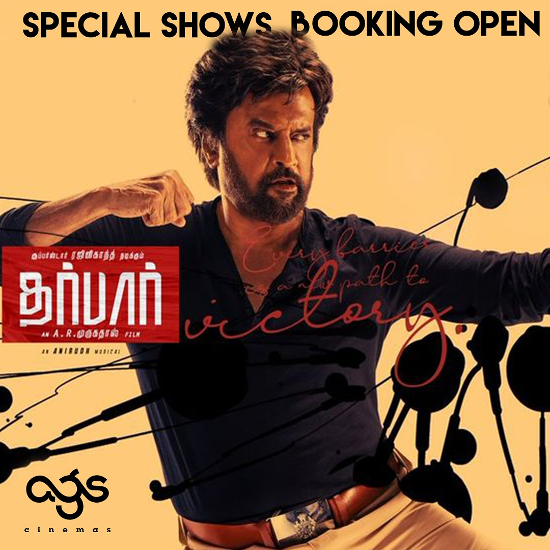 Bookings are open for special shows tomorrow morning at #AGS! Log onto our website or app to book now!! #Thalavair #DarbarFDFSatAGS  @LycaProductions @rajinikanth @ARMurugadoss @anirudhofficial #Nayanthara