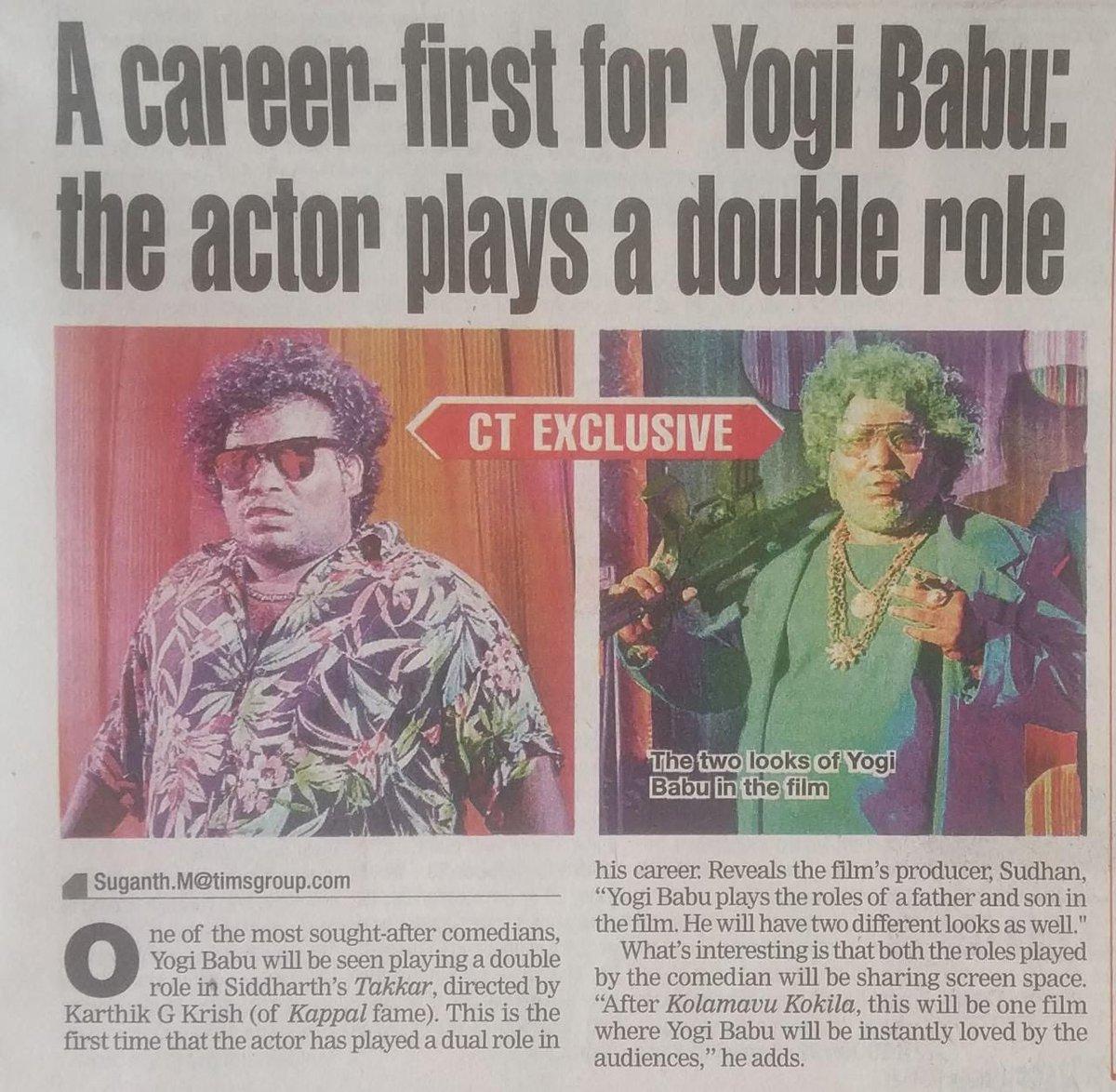 First Time Dual role in #Takkar ☺️  @Actor_Siddharth @Karthik_G_Krish @itsdivyanshak @nivaskprasanna @RjVigneshkanth @editorgowtham @PassionStudios_  @DoneChannel1 @thinkmusicindia @CtcMediaboy