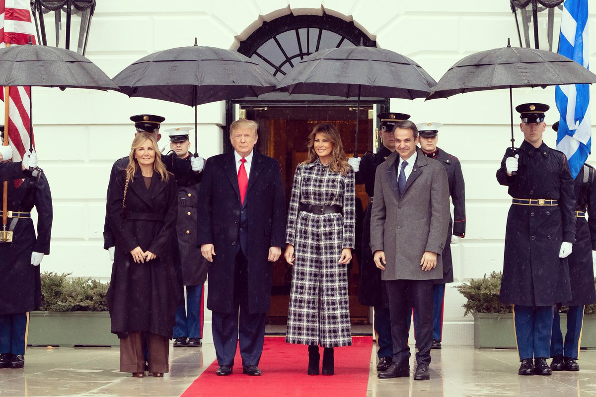 .@POTUS and I had a great visit with the Prime Minister of Greece, @kmitsotakis and @MarevaGrabowski at the @WhiteHouse yesterday.