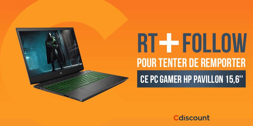 🎁 #Concours #CdiscountSoldes   💻 Un PC Gamer HP Pavillon 15,6'' à gagner  ➡   🔸 Pour tenter ta chance :  RT + Follow pour tenter de le remporter  TAS 14/01  Règlement :
