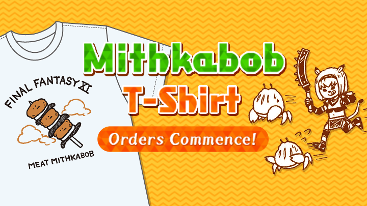 We are pleased to present a tasty #FFXI Meat Mithkabob t-shirt, hot straight off the grill! 🍡👕  Don this shirt and venture out to gain some EXP!