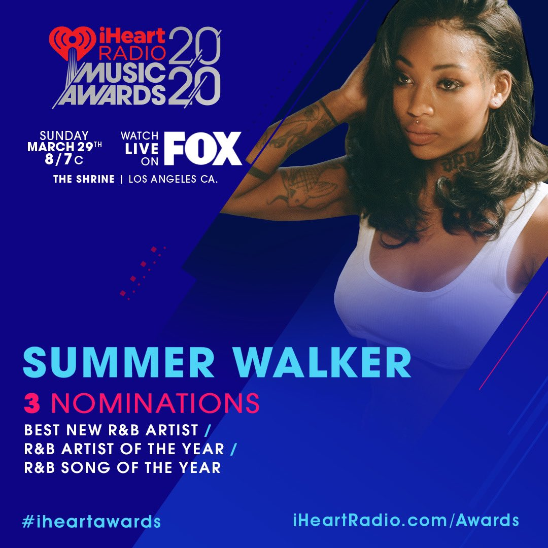 Congrats to @iamsummerwalker who's received 3 nominations for the @iheartradio music awards! 👑 #iHeartAwards
