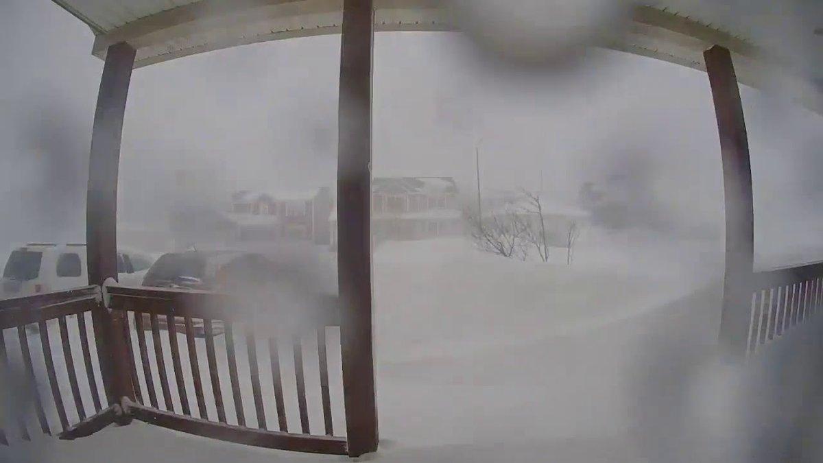 Doorbell cam captures intense blizzard burying a town in snow