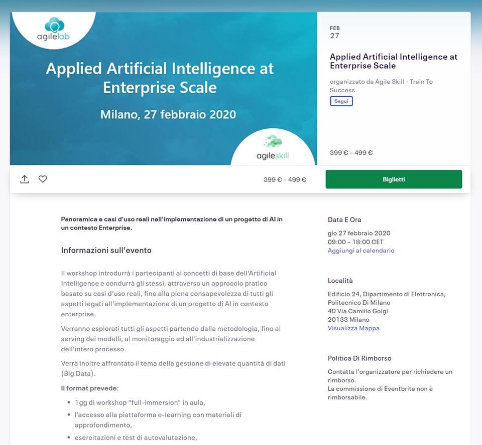 test Twitter Media - Applied #ArtificialIntelligence at Enterprise Scale. #Milano 27 Febbraio 2020 https://t.co/Xg6lkMHwCQ https://t.co/4E2fXakWNS