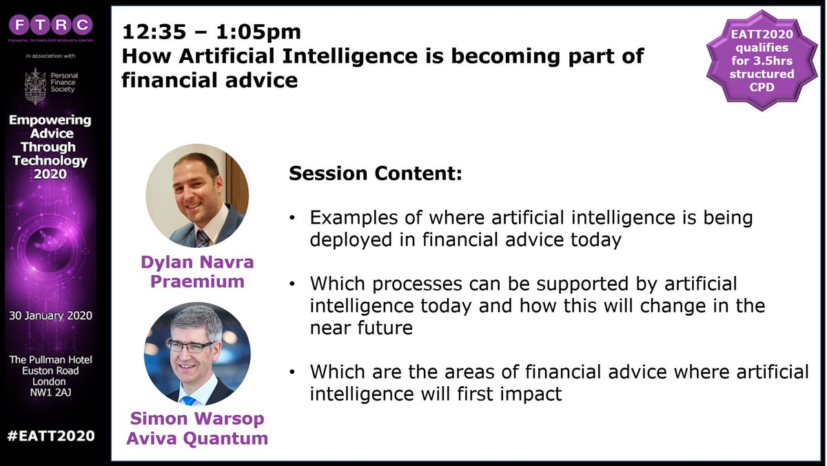 """test Twitter Media - It promises to be a fascinating plenary session at #EATT2020 with @DylanNavra & Simon Warsop discussing how #artificialintelligence will become more prevalent in financial advice. Tickets  available via https://t.co/TRzwySkCGq. Quote promo code """"FTRC20"""" for a 20% discount. https://t.co/aM3ZhglGHf"""