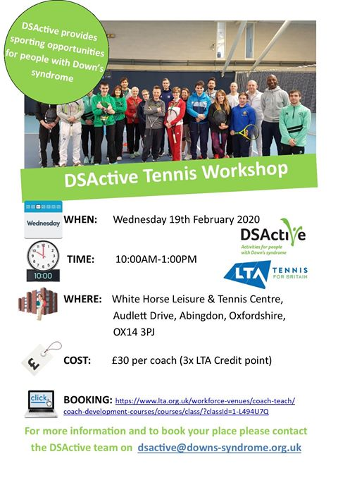 #Tennis coaches & students! Understand how best to adapt your tennis session to suit people with Downs Syndrome. 🎾 @DSActive have a workshop with @the_LTA in @Better_UK #Abingdon on Feb 19th  Booking here: https://t.co/seYon33236