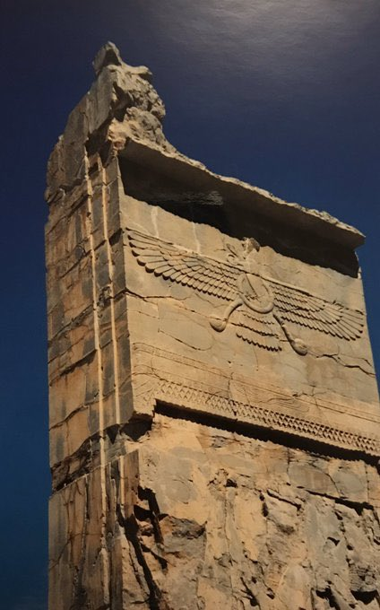 Faravahar, an angelic divinity in Zoroastrianism. The relief is from #Persepolis, the ceremonial capital of ancient Persians that was built 2500 years ago by #DariustheGreat. Over the years, Farvahar has become a national symbol. https://t.co/Fi4wxKrOjb