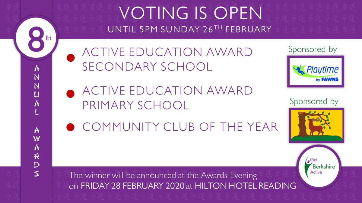 #8thGBAAwards voting  for 3 Award Categories closes this Sunday, 26th Jan, 5pm:   'Active Education' (Secondary School)' https://t.co/WONHfdRpZh 'Active Education' (Primary School)' https://t.co/hemdEpGvra 'Community Club' https://t.co/frLFV5MFbq Submit your vote!