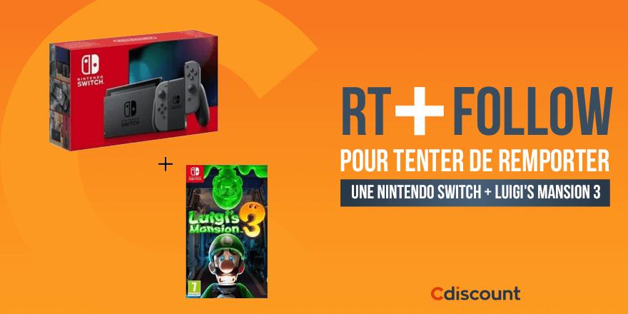 🎁 #Concours #CdiscountSoldes   Une Nintendo Switch + Luigi's Mansion 3 à gagner  ➡   🔸 Pour tenter ta chance :  RT + Follow pour tenter de le remporter  TAS 16/01