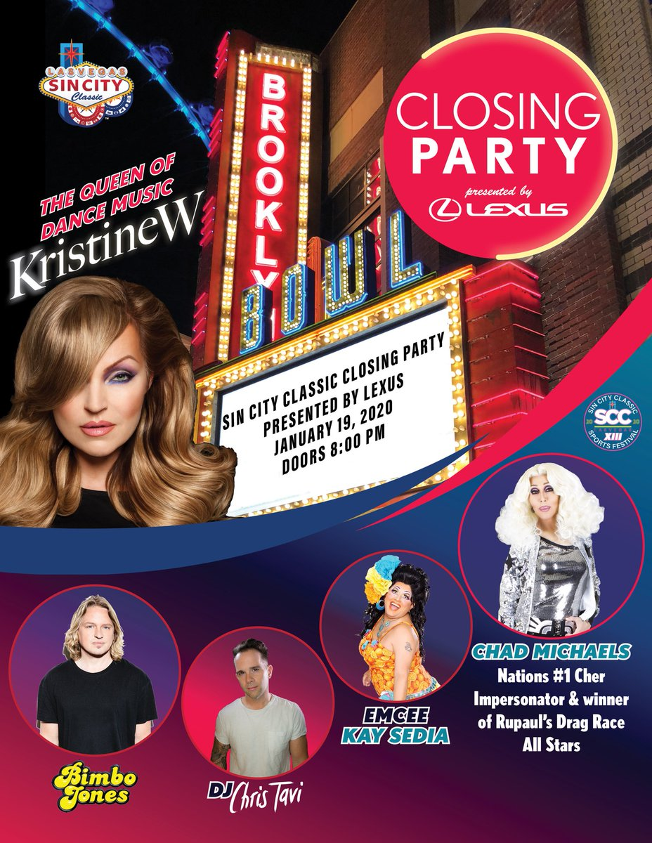 The #SinCityClassic Closing Party is 1 week away with @kristinewmusic, @ChadMichaels1, @leedagger, @djchristavi, @kaysedia1! Doors at the @bbowlvegas open at 8pm! 🎉