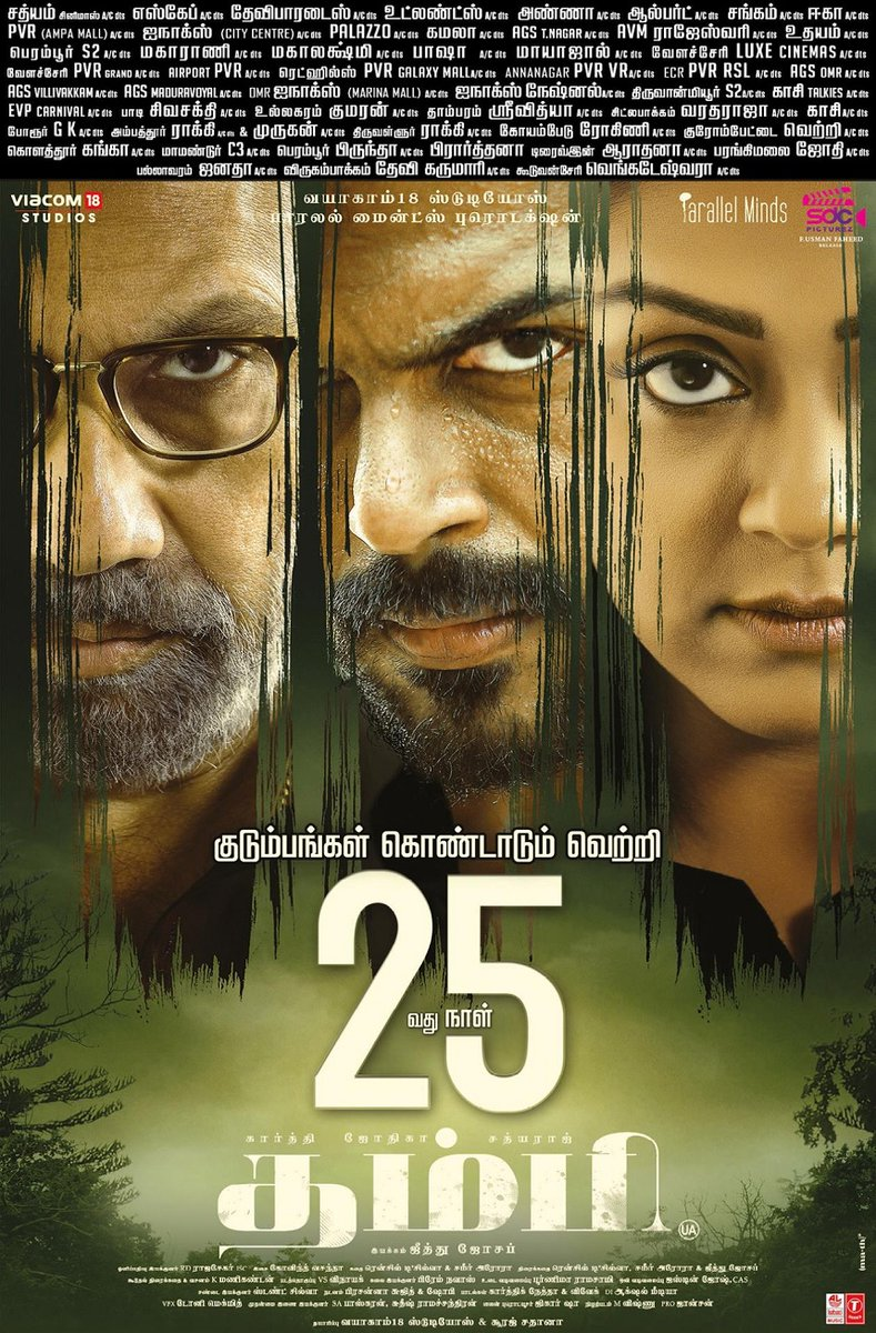 The super-neat family drama set in the thriller backdrop, #Thambi marks its 25th day of successful theatrical run today. Congarats to the team for the success,  #AJeethuJosephFilm @Karthi_Offl #Jyotika #Sathyaraj @Nikhilavimal1 #Surajsadanah @johnsoncinepro @govind_vasantha
