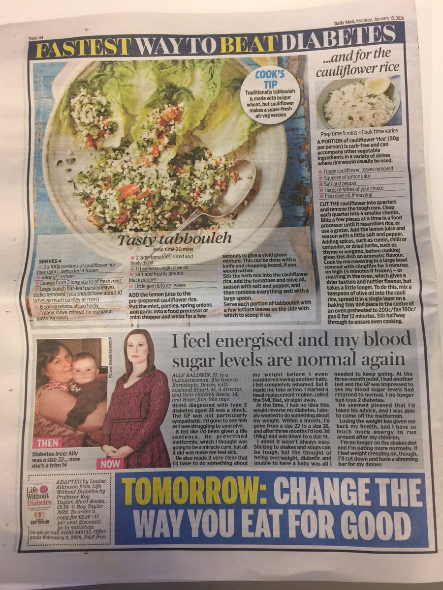 test Twitter Media - Professor Roy Taylor's new book 'Life Without Diabetes' is being serialised in the Daily Mail starting today. Day 1/ Page 4. #diabetes #Health #type2Diabetes #Type2 https://t.co/6POKKY1iS0