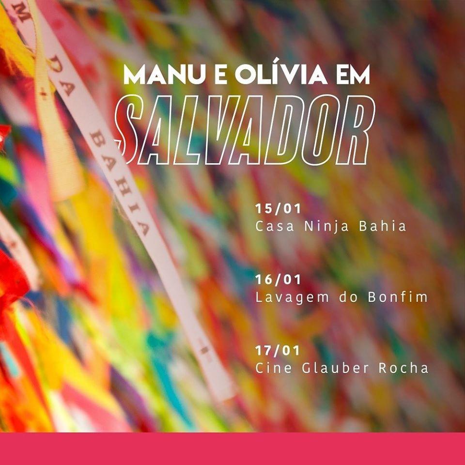 O ano começa com essa agenda linda em Salvador, a convite da Olívia @OliviaSantana65 e do @PCdoB_Oficial  Confira as datas e horários:  📌15/01, às 20h - Bate-papo com Olívia Santana e lançamento de Por que lutamos?, na Casa Mídia Ninja Bahia @MidiaNINJA