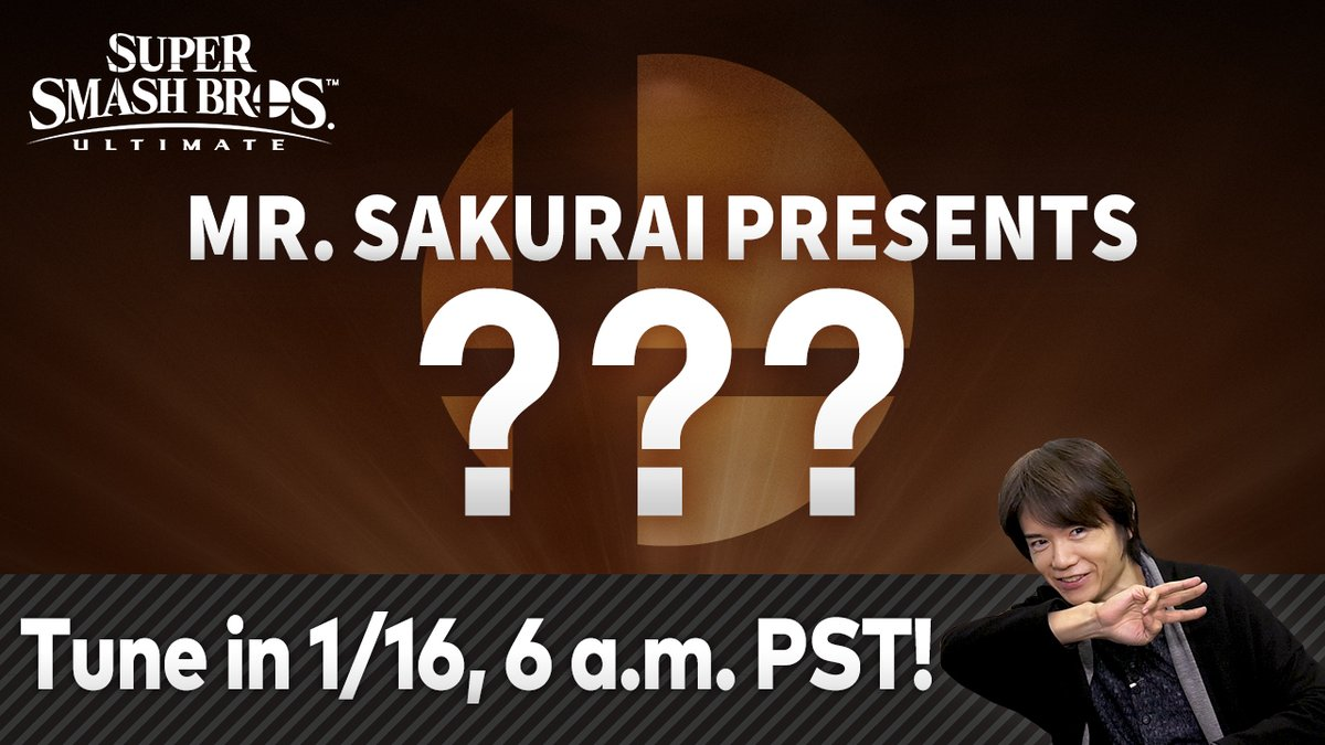 Join Super #SmashBrosUltimate director Masahiro Sakurai on 1/16 at 6am PT for a roughly 35 minute video livestream featuring an in-depth look at an upcoming DLC fighter, which he will unveil in the video!