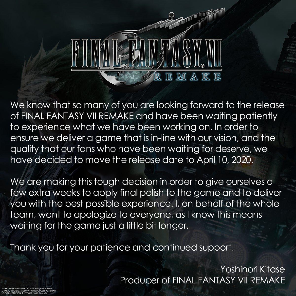 A message from the #FinalFantasy VII Remake development team. #FF7R