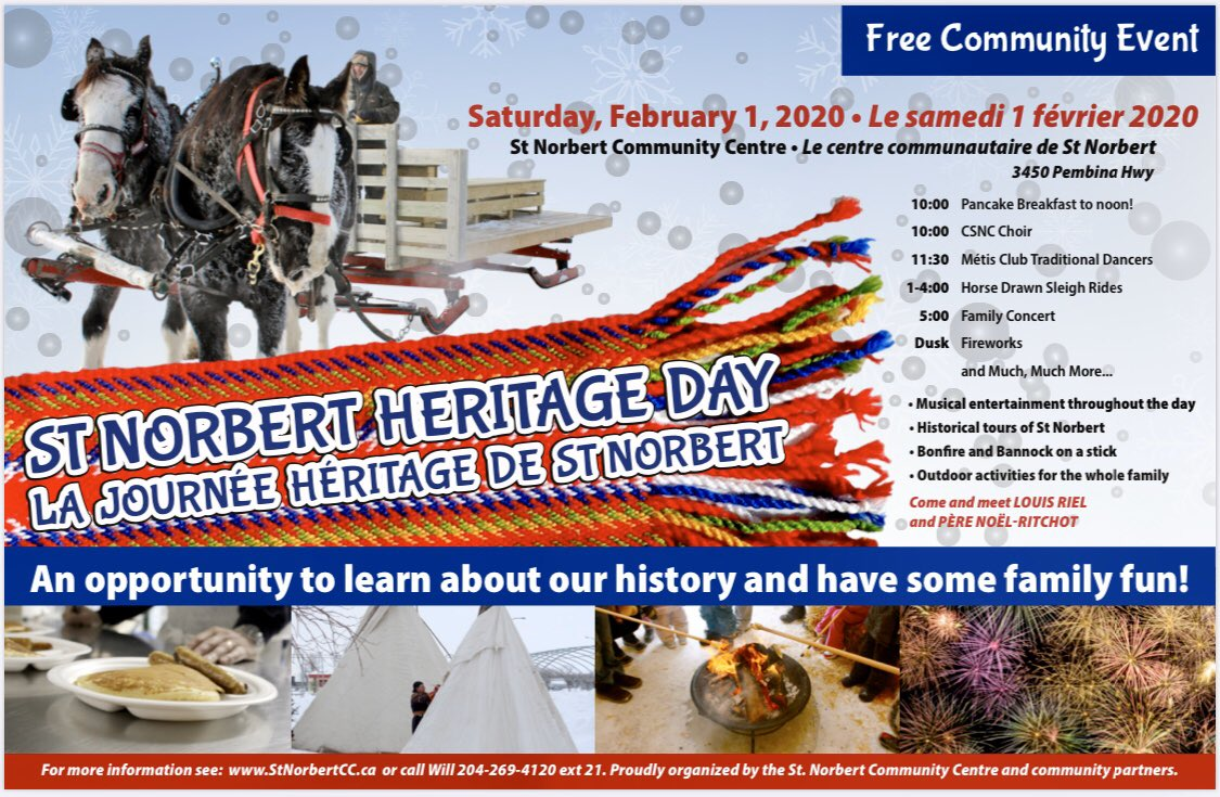 test Twitter Media - Mark your Calendars for Heritage Day in February 1st in St. Norbert!  This is always a fun treat for the whole family to enjoy right in our own neighbourhood! @StNorbertCC https://t.co/NPjJfF8kqB