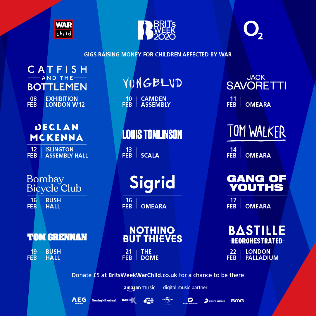 We are so excited to announce #BRITsWeek 2020 together with @O2music for War Child feat. the amazing @bastilledan @thebottlemen @BombayBicycle @Louis_Tomlinson @thisissigrid & many more…the £5 prize draw is open NOW with limited tix onsale Friday 9am:  ❤️