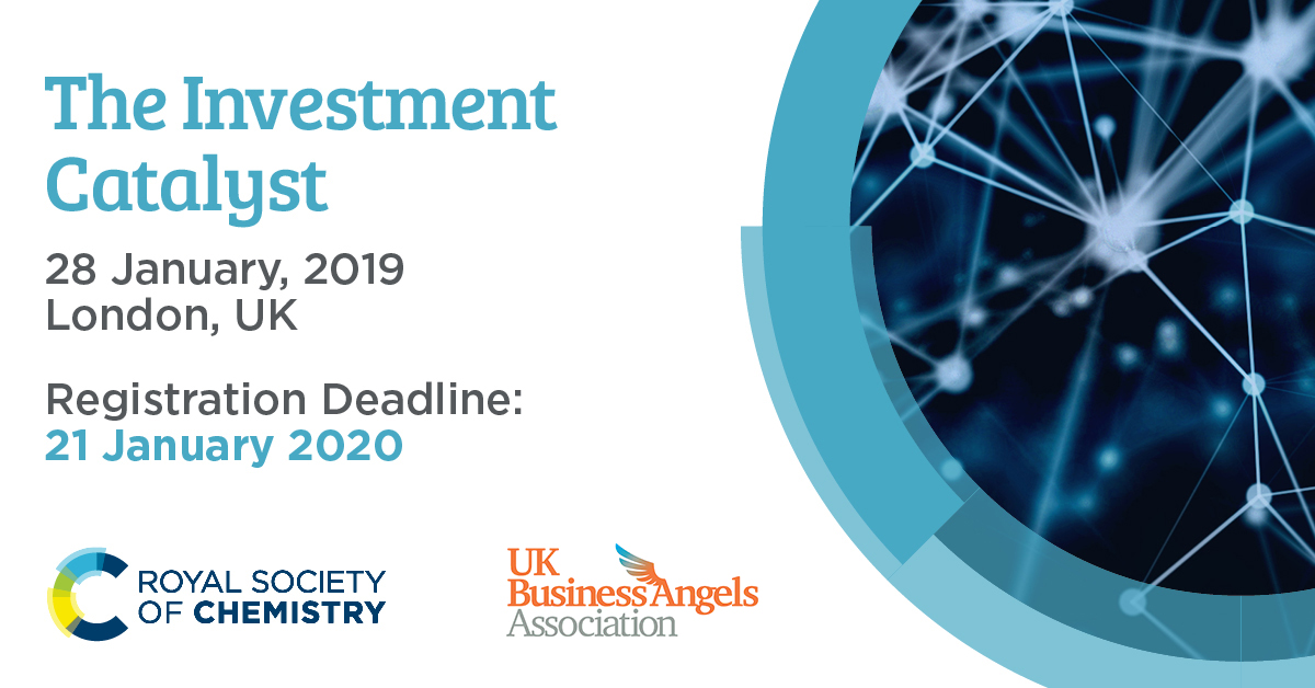 Join us at our fifth investment catalyst in partnership with @RoySocChem on 28 Jan 2020.  Hear from 8 exciting companies, with chemistry-led IP at their core, deliver short presentations to our investor community.  Get your ticket here: