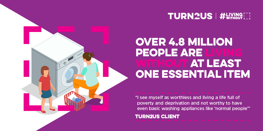 Our member @turn2us_org is today releasing a new report showing the true impact that appliance poverty has. It is staggering how many people are #LivingWithout the basics and facing daily consequences. Find out more