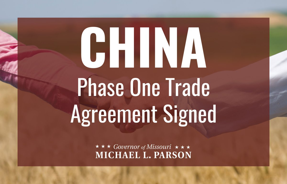 Initial promises from the Phase One Trade Agreement with China include more than $200 billion in purchases that cover a number of industries that thrive in Missouri, including agriculture, energy, manufacturing & other services. A tremendous victory for our American economy!