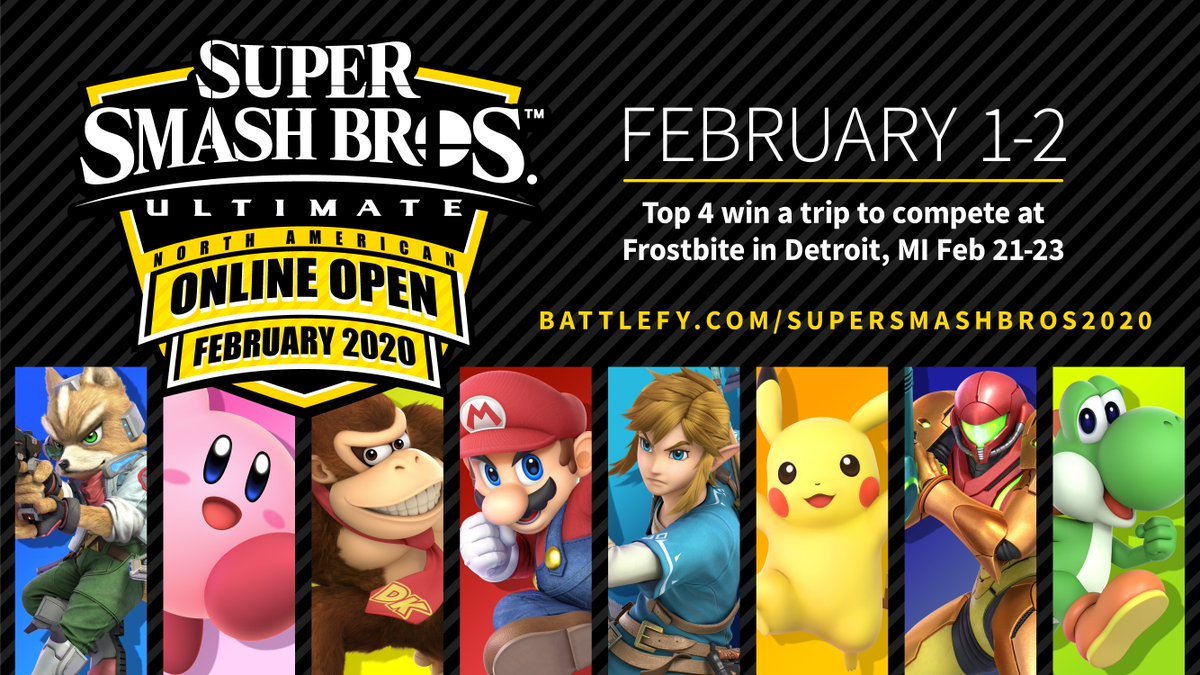 Have you registered for the #SmashBrosUltimate North American Online Open February 2020? With the tournament a few weeks away, there's still time!   On top of the bragging rights, placing top 4 will stamp your ticket to @ComeToFrostbite!
