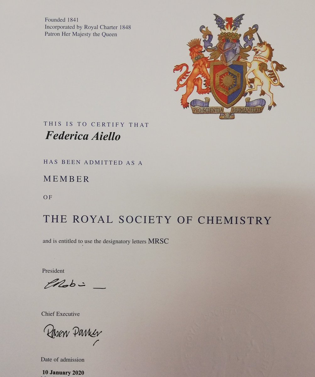 Many thanks to @RoySocChem for accepting my request of membership 😎 what a wonderful way to start 2020! #chemistry #WomenInSTEM
