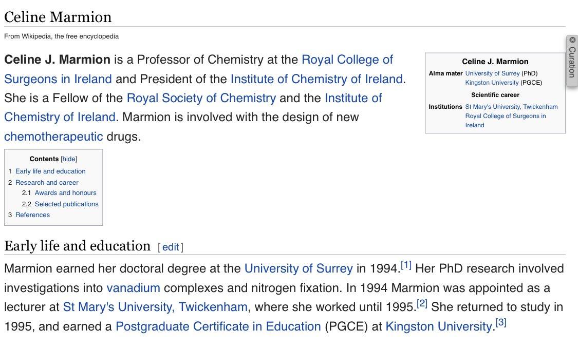 🇮🇪💊⚗️ Meet Prof Celine Marmion, multi-🏆 winning chemist @RCSI_Irl. Marmion develops new metal-based chemotherapeutic drugs. She's a Fellow @RoySocChem + has served as President of the Institute of Chemistry of Ireland. New @wikipedia page:  #womeninSTEM