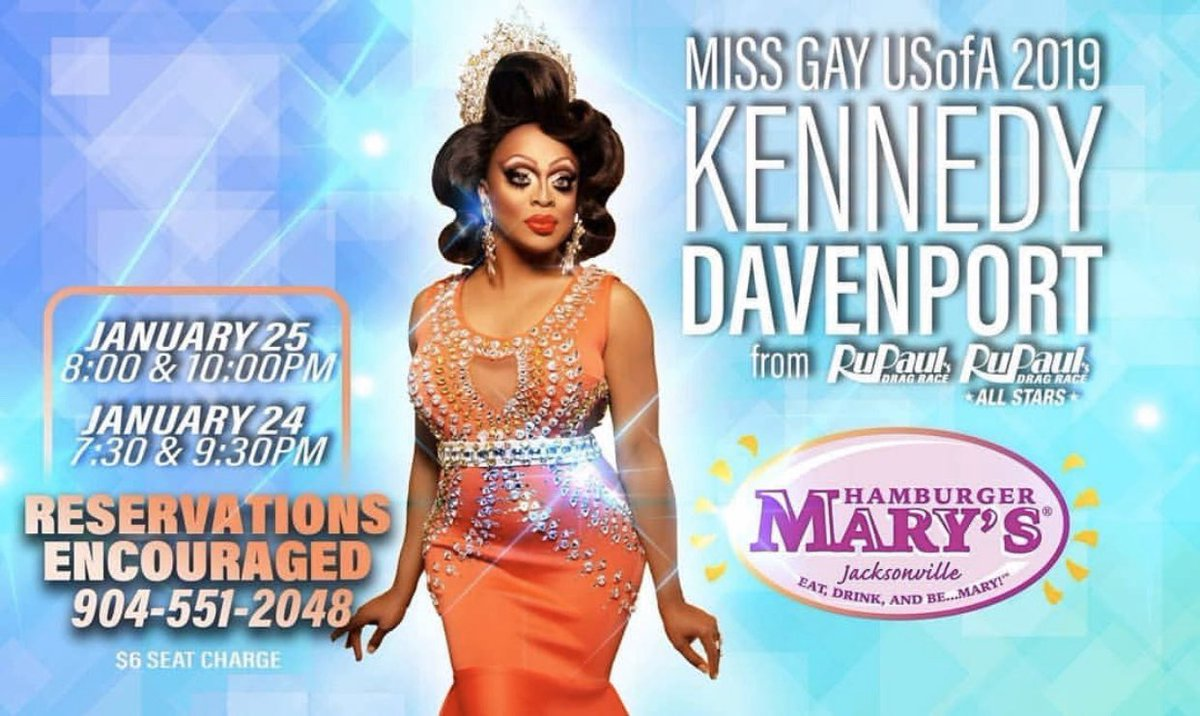 Hello Jacksonville! @kennedyddoftx will be at @hamburgermarysjax this weekend. Get your reservations now for a night of great entertainment! #LRITalent #kennedydavenport #dancingdivaoftexas #missgayusofa2019 #hamburgermarysjax