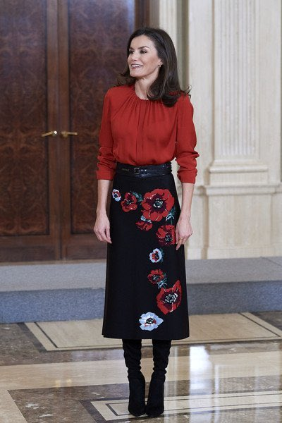 #fashion Queen Letizia attended audiences at the Royal Palace of Zarzuela in Madrid on 14 January 2020.  Queen Letizia rewore red Hugo Boss Banora blouse with Carolina Herrera skirt. #queenletizia https://t.co/WjVZTyU3qa