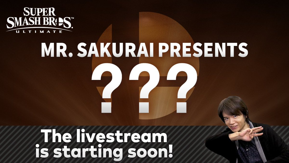 The video livestream with Super #SmashBrosUltimate director Masahiro Sakurai is beginning soon! Tune in to learn details on the next DLC fighter!
