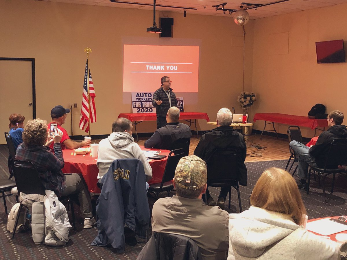 President @realDonaldTrump has been a champion of our American workers — and they know it!  Thank you to my @MIGOP Co-Chair & Workers for @TeamTrump National Chairman @terry_bowman, for speaking at our MI autoworkers Trump-Victory Leadership Initiative training last night. 🇺🇸