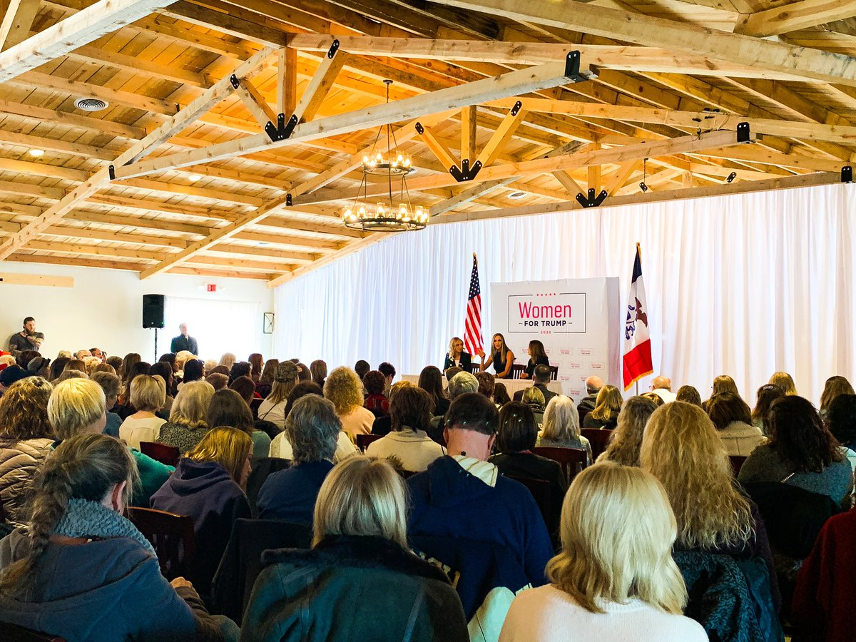 Feel factor is -16 degrees and it's 10:00AM on a Thursday, but that isn't stopping these women from packing out a room to hear @kayleighmcenany, @LaraLeaTrump and @mercedesschlapp! Iowa women are showing their support President Trump! #WomenForTrump #IACaucus