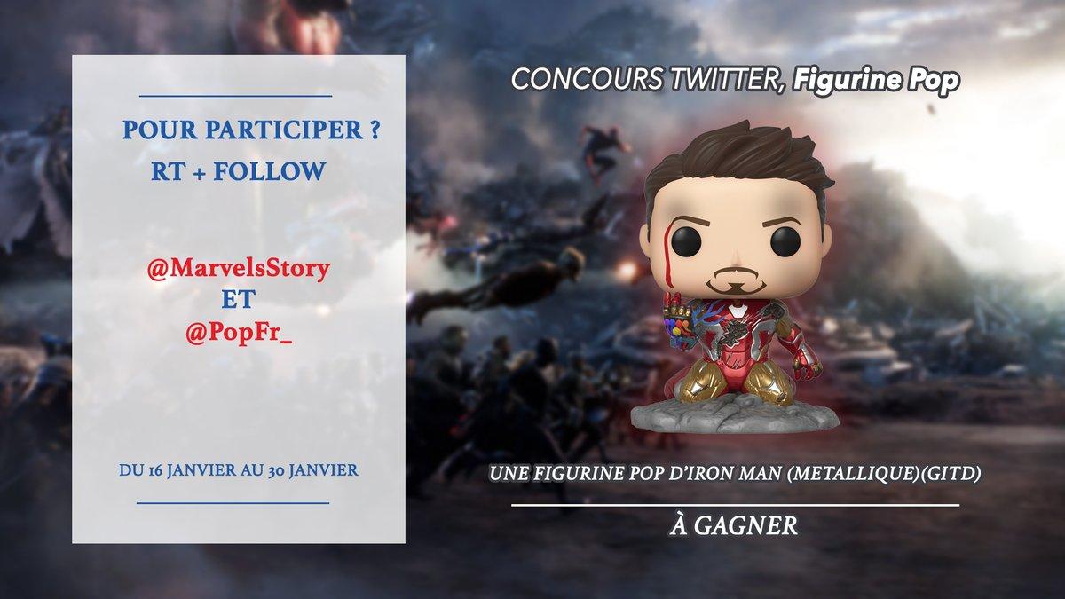 La nouvelle figurine Funko Pop! d'Iron Man à l'air de beaucoup vous plaire, alors on vous propose un #concours pour la gagner !  1. RT ce tweet 2. Suivre @MarvelsStory & @PopFr_   🎁 Tirage au sort le 30 janvier 2020 ! 🎁