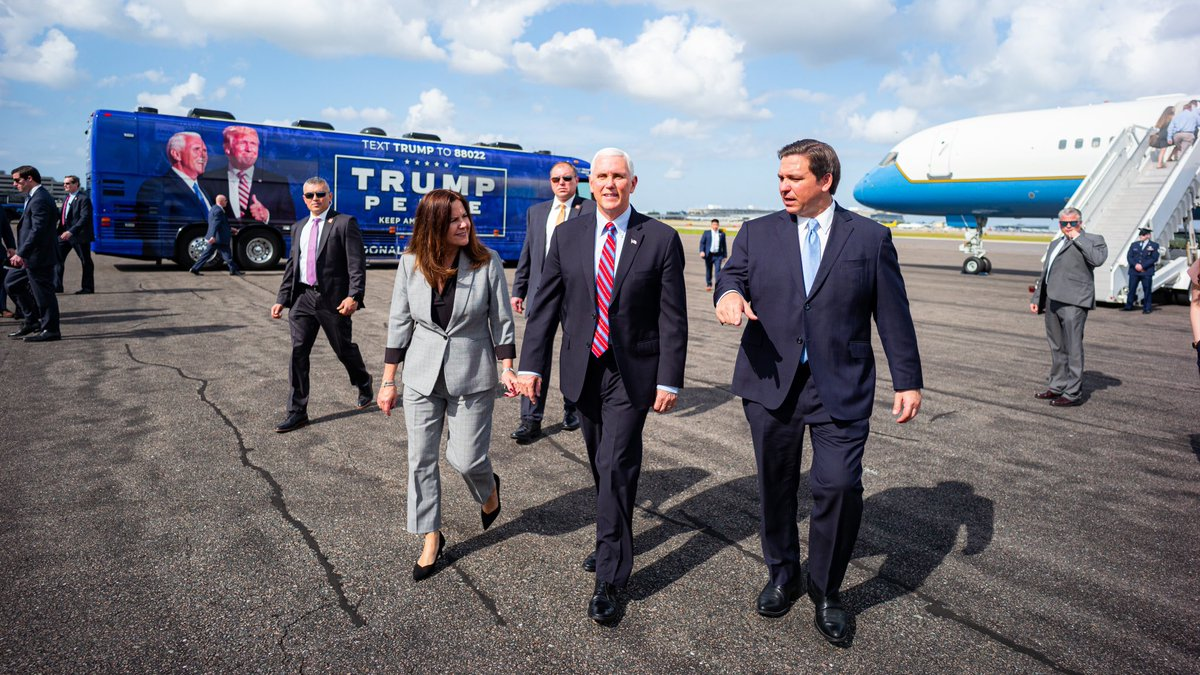 Hello Florida! @KarenPence and I are excited to be in Tampa as we work with President @realDonaldTrump to #KeepAmericaGreat!