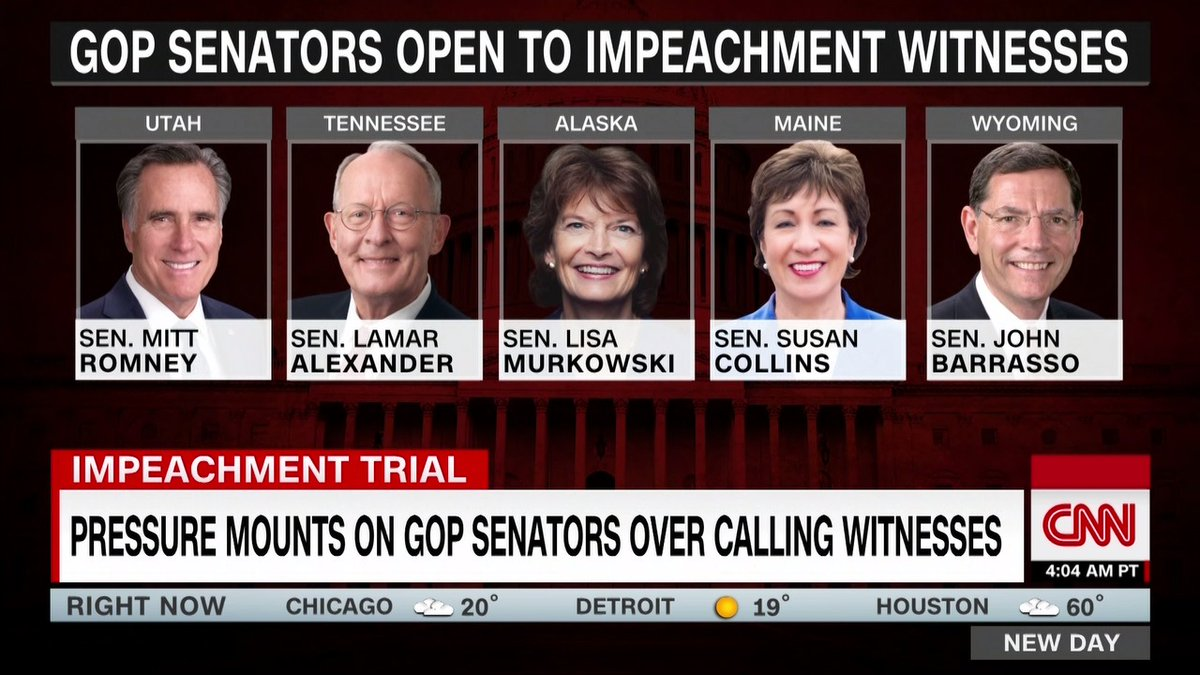 Here are the GOP senators open to impeachment witnesses.  Read more about the senators to watch in the impeachment trial:
