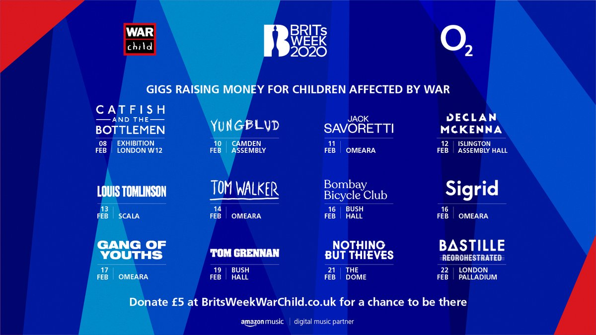 🎶 @WarChildUK #BRITsWeek is back! 🎶   This year there's performances from @Louis_Tomlinson, @bastilledan, @Iamtomwalker, @thisissigrid and so many more amazing artists! 🎉  For more info on the prize draw and tickets head to: