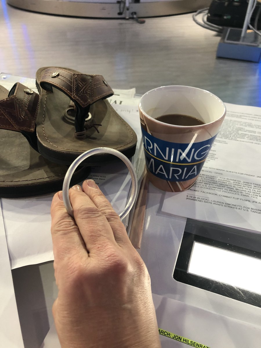Join us now.  This aluminum bracelet was a land mine in the Vietnam war.  ⁦@combatflipflops⁩ makes flip flops & other products ⁦@MorningsMaria⁩ ⁦@FoxBusiness⁩ #Veteran