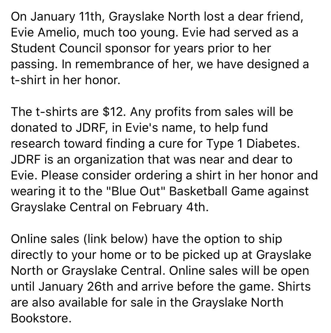 test Twitter Media - Please consider purchasing a shirt in memory of Evie Amelio. All proceeds will be donated to JDRF in her honor. https://t.co/CEkBY0Fh5k  #JDRF #blueout #diabetes #research #RIP https://t.co/erMHNEZG8a