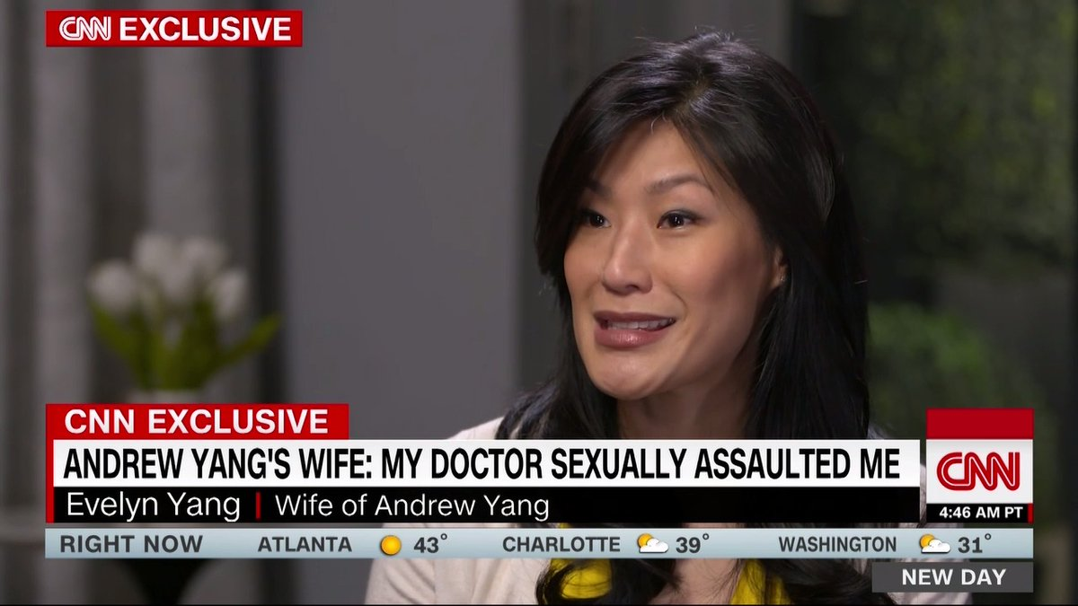 Evelyn Yang, wife of presidential candidate Andrew Yang, says she's a survivor of sexual assault by a doctor who has been accused of abusing dozens of his patients, most of whom were pregnant at the time.