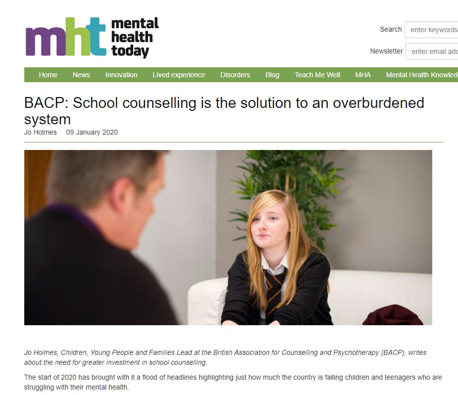 #ICYMI School #counselling could be one of the answers to reducing the strain on more specialist services. Our Children, Young People and Families Lead @JoHolmesBACP wrote this blog for @mhtodaymag 👇