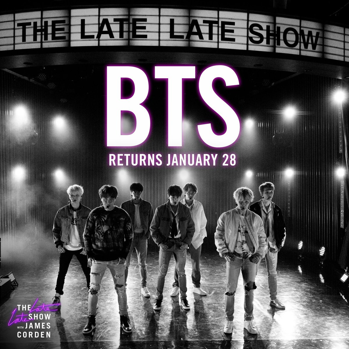 "Thrilled to announce @BTS_twt returns to the #LateLateShow on January 28 to perform ""Black Swan""!"