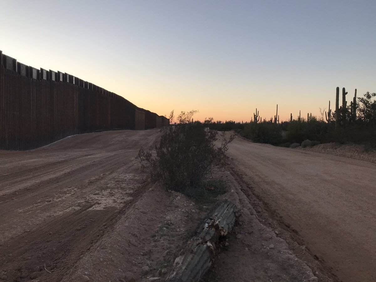 Photos from yesterday of #BorderWall construction in Organ Pipe Cactus NM and the heartbreaking graveyard that's being left in its tracks. New 30ft wall now stretches almost completely from the base of Monument Hill to just 9 miles east of Quitobaquito Springs..