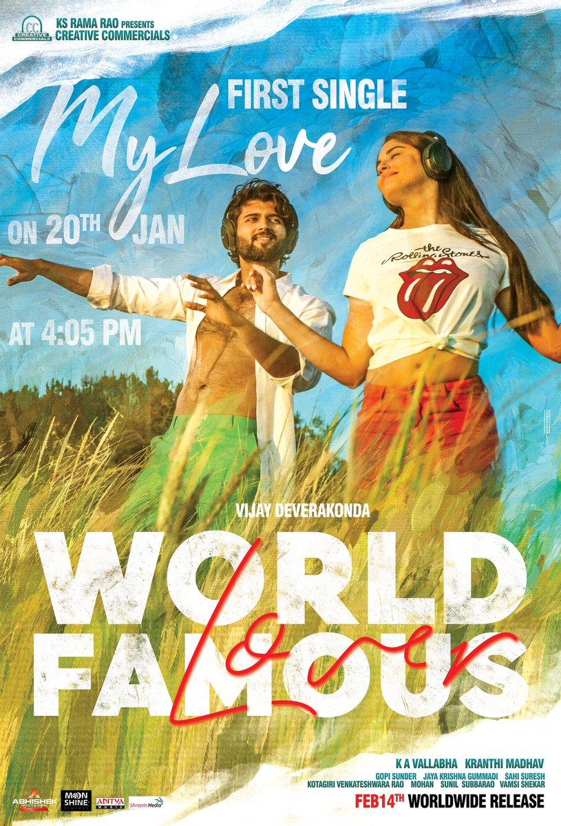This Song will make your hearts flutter 💓 First single #MyLove from #WorldFamousLover will be out on 20th Jan at 4:05 PM.  @TheDeverakonda @RaashiKhanna @CatherineTresa1  @aishu_dil @ksramarao45 #Kranthimadhav #KAVallabha @GopiSundarOffl @adityamusic  #WFLonFeb14