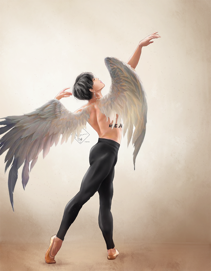i put wings on my ballet jimin artwork and... wow, he's made for this concept  #btsfanart #blackswan
