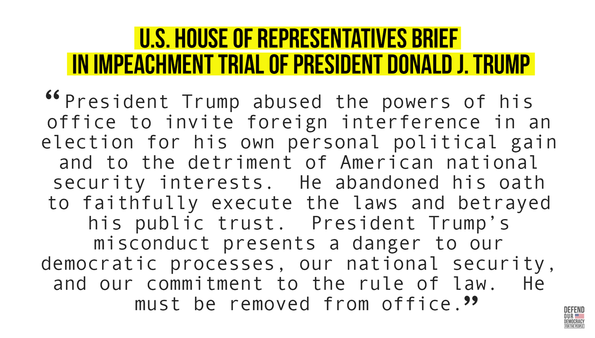 The House of Representatives has filed its brief in the impeachment trial of President Donald J. Trump.  Nobody is the above the law. #DefendOurDemocracy