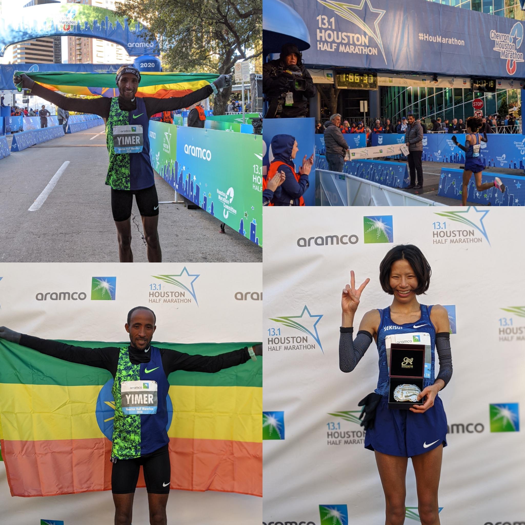Half Marathon winners: Jemal Timer (Ethiopia) & Hitomi Niiya (Japan) 🏅 Congratulations #runhou #houhalf https://t.co/CHRNYZooKC