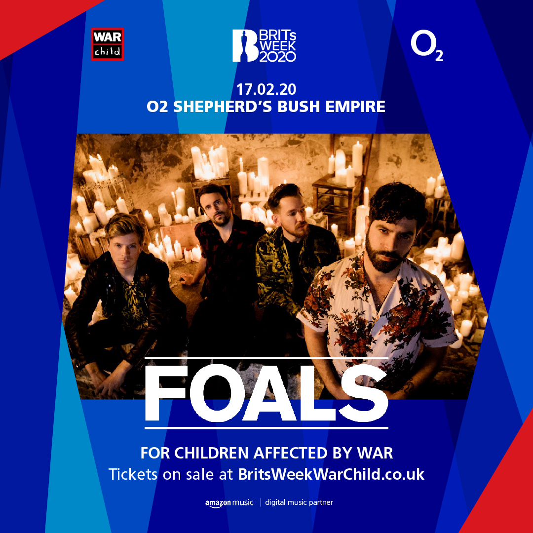We are incredibly excited to announce @foals will be joining the line-up for this years #BRITsWeek together with @O2music for War Child, with an intimate show at @o2sbe on Mon 17th Feb!   Tix on sale Friday 24th Jan at 9am. Full info & tickets here –